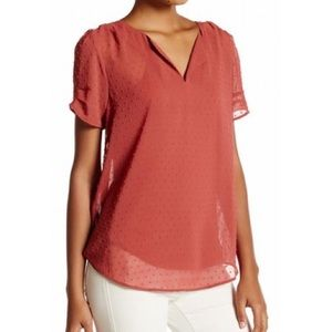 DR2 Women's Red Top with Split Neck